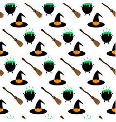 witch hat and broom pattern vector image vector image