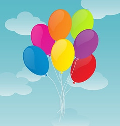 Colorful Balloons on Blue Sky Background vector image