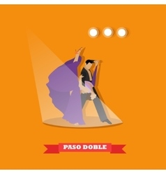 Couple dancing paso doble concept poster vector image vector image