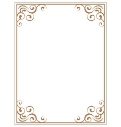 frame with brown patterns on a white background vector image