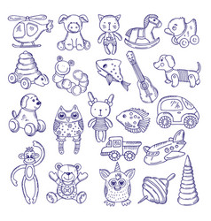 hand drawn doodle toys for kids sketches vector image vector image