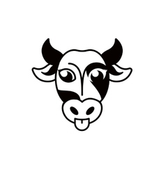 Isolated abstract black and white cow muzzle logo vector image vector image