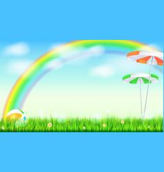 Summer background big bright rainbow above green vector