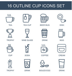 16 cup icons vector