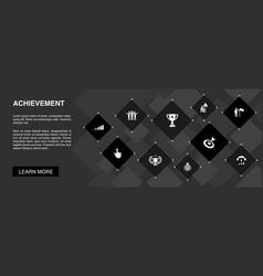 Achievement banner 10 icons conceptprogress vector