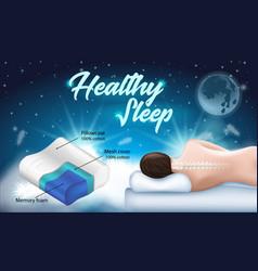 Advertising flyer with inscription healthy sleep vector