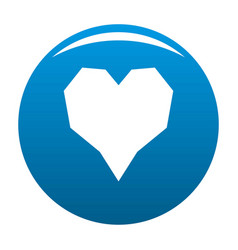 Angular heart icon blue vector