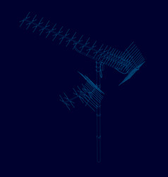 Antenna wireframe of blue lines on a dark vector