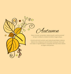autumn poster with yellow and orange leaves decor vector image