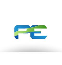 Blue green pe p e alphabet letter logo vector