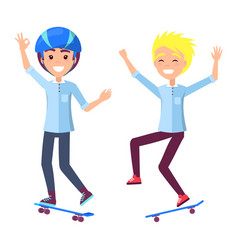 Boys on skateboards have fun and perform tricks vector