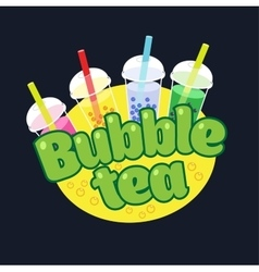 Bubble Tea concept logo vector image
