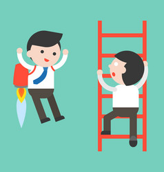 Businessman climb a ladder and businessman flying vector
