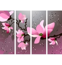 Card with blossoming oriental cherry branch vector