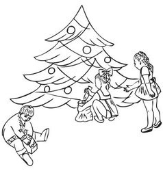 Children under the Christmas tree vector