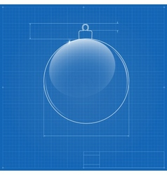 Christmas ball symbol like blueprint drawing vector