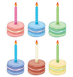 collection colorful birthday macaroon vector image