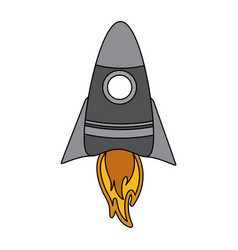 Color graphic cartoon rocket space ship take off vector