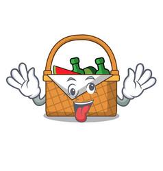 Crazy picnic basket mascot cartoon vector
