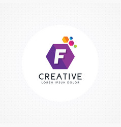 creative hexagonal letter f logo vector image