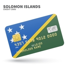 Credit card with Solomon Islands flag background vector image