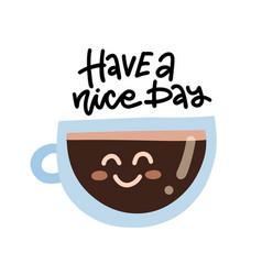 cute cartoon coffee cup character with kawaii vector image