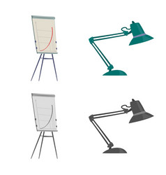 Design of furniture and work icon set of vector