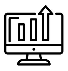 Diagram on monitor icon outline style vector