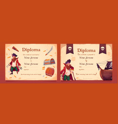 Diploma with pirate theme for kids vector