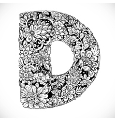 Doodles font from ornamental flowers - letter D vector image