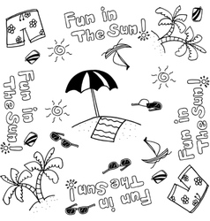 Draw doodle art beach vector