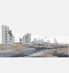 Earthquake destroyed city background vector
