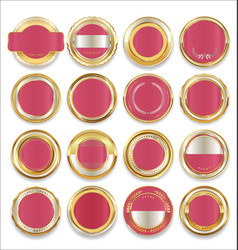 Empty gold silver and pink labels collection vector