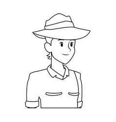 explorer man safari costume halloween celebration vector image