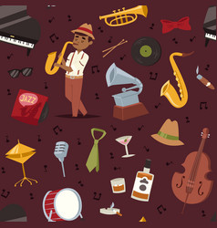 fashion jazz band music party symbols art vector image