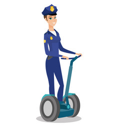Female security guard riding electrical scooter vector
