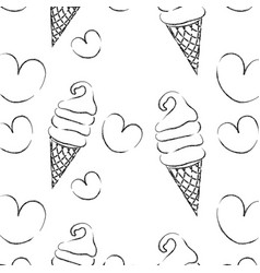 Figure sweet ice cream in the cornet with heart vector