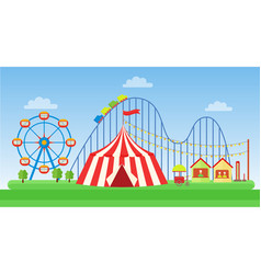 flat of classic amusement park vector image