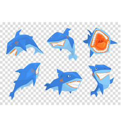flat set of big blue shark marine fish vector image