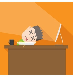 Flat simple of tired man vector