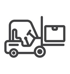 Forklift delivery truck line icon logistic vector