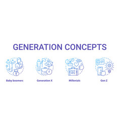 generation concept icons set age groups idea thin vector image