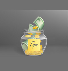 glass money box for tips full dollars cash vector image