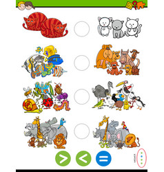 Greater less or equal task with animals vector