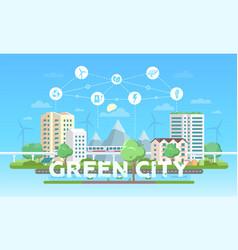 Green city - modern flat design style vector