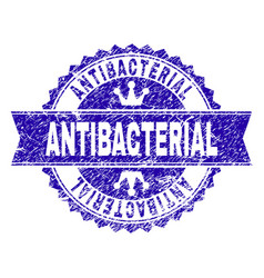 Grunge textured antibacterial stamp seal with vector