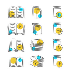 Hand drawn line book icons on white background vector