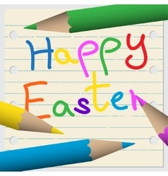 Happy easter greeting card - notebook with pencils vector