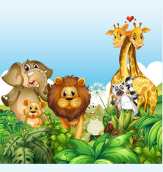 happy wild animals in forest vector image