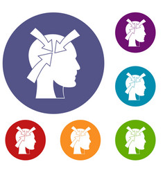 Head with arrows icons set vector